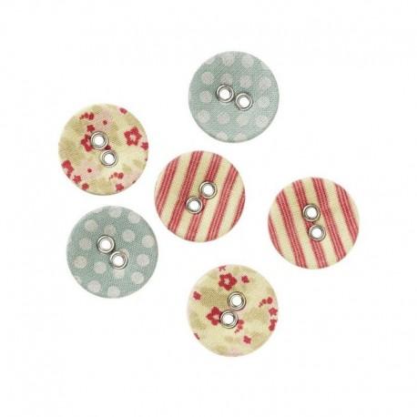 Tilda fabric buttons 17 mm, 6 pz Tiny Treasures