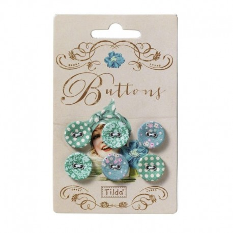 Tilda fabric buttons 17 mm, Spring Lake 6 pz