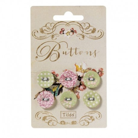 Tilda fabric buttons 17 mm, 6 pz Apple Bloom