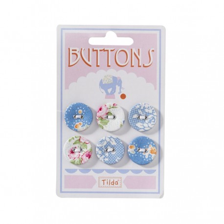 "Tilda fabric buttons 20 mm, 6 pz ""Circus"""