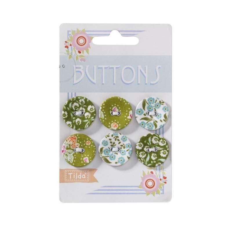 "Tilda fabric buttons 23 mm, 6 pz ""Circus"""