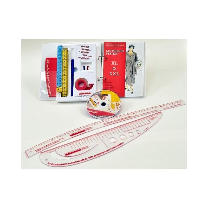 Taglio d'Oro XXL Kit Base con 97 modelli + Set di Righelli, taglio sartoriale