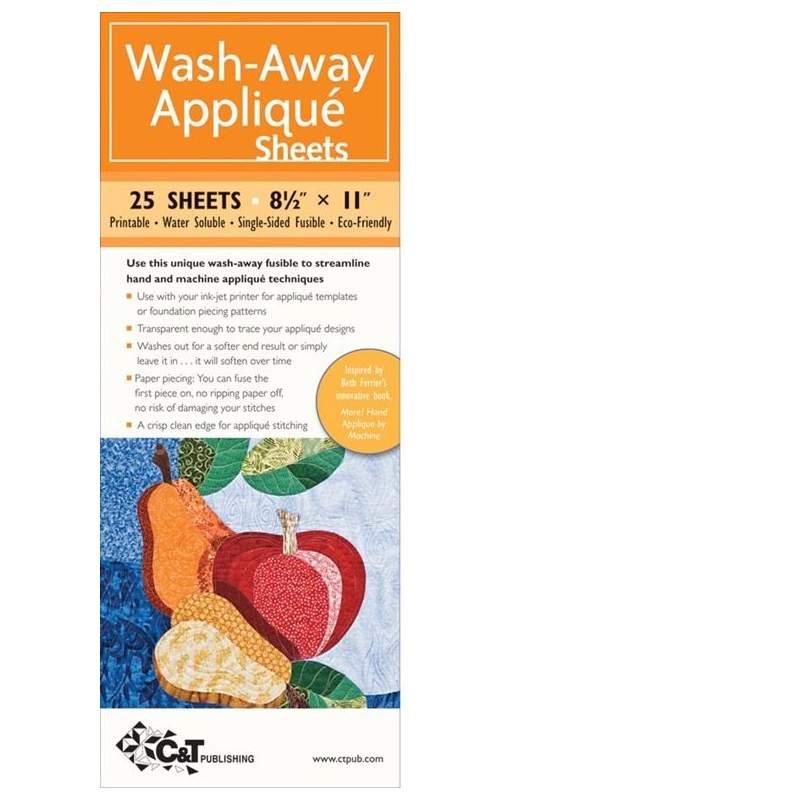 Wash-Away, Carta Termoadesiva Idrosolubile per Appliqué, 20 fogli