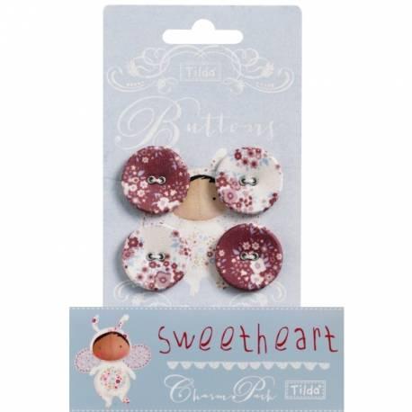 Tilda fabric buttons 25 mm, 4 pz Sweetheart