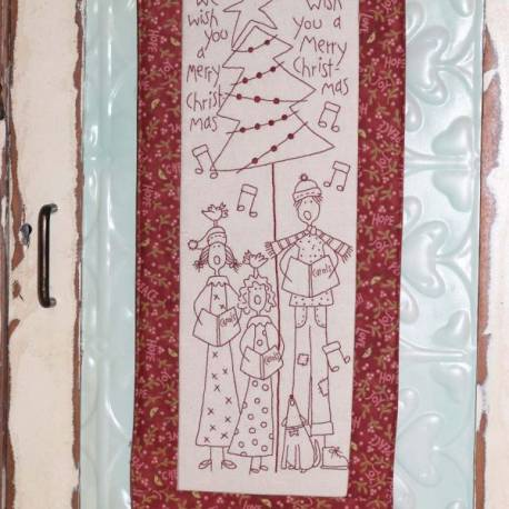 The BirdHouse, The Carolers- Christmas Pre-printed Stitchery