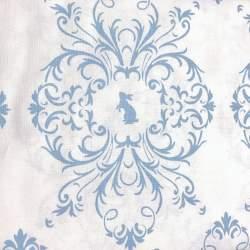 Gutermann Summer Loft, Tessuto Bianco con Conigli e Ghirigori Azzurri