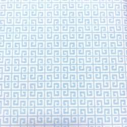 Gutermann Summer Loft, Tessuto Bianco con Greche Azzurre