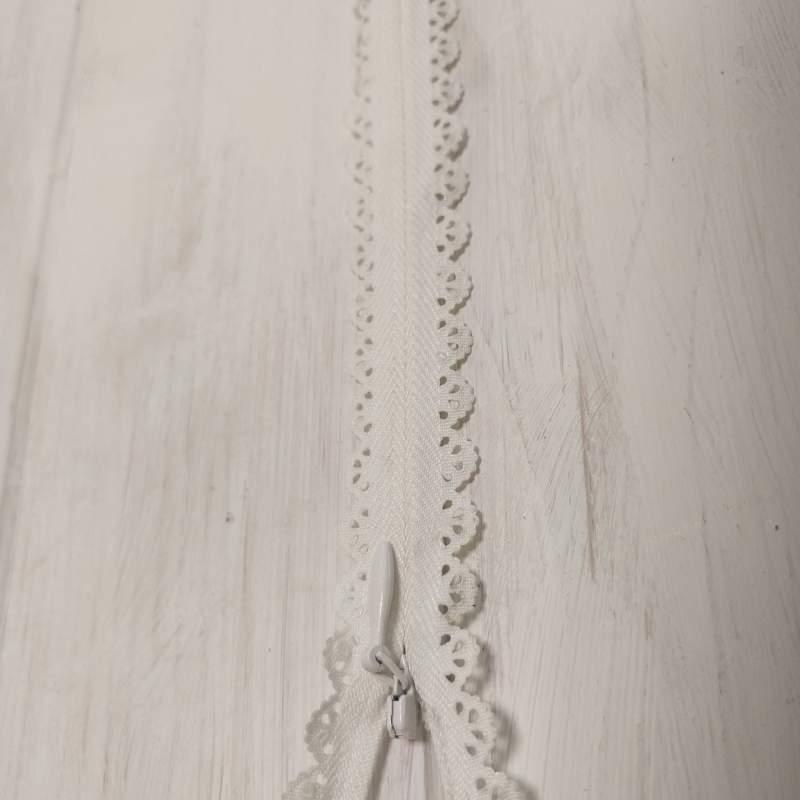 Cerniera Zip Invisibile con Pizzo da 22cm - Avorio