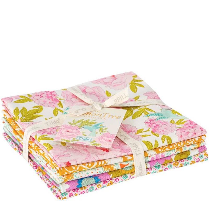 Tilda Fat Quarter Bianco/Giallo, 5 Pezzi - LemonTree Tilda Fabrics - 1