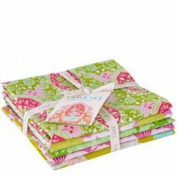 Tilda Sunkiss, Bundle 5 Fat Quarter 50 x 55 cm - Verde e Rosa