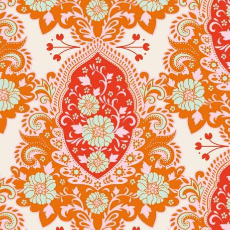 Tilda 110 Sunkiss, Charlotte Ginger - Tessuto a Fiori Arancione
