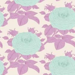 Tilda 110 Sunkiss, Grandma's Rose Liliac - Tessuto a Fiori Viola