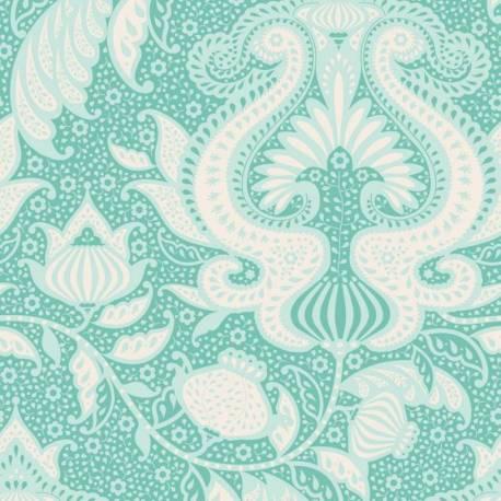 Tilda 110 Sunkiss, Ocean Flower Teal - Tessuto a Fiori Azzurro