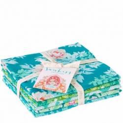 Tilda Sunkiss, Bundle 5 Fat Quarter 50 x 55 cm - Azzurro e Verde
