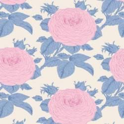Tilda 110 Sunkiss, Grandmas Rose Blue - Tessuto a Fiori Blu
