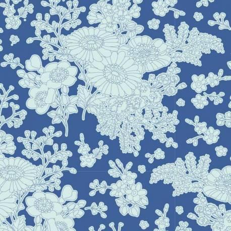 Tilda 110 Sunkiss, Imogen Blue - Tessuto a Fiori Blu
