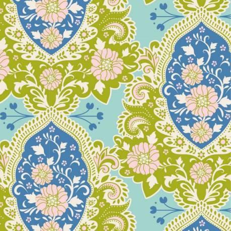Tilda 110 Sunkiss, Charlotte Blue - Tessuto a Fiori Blu