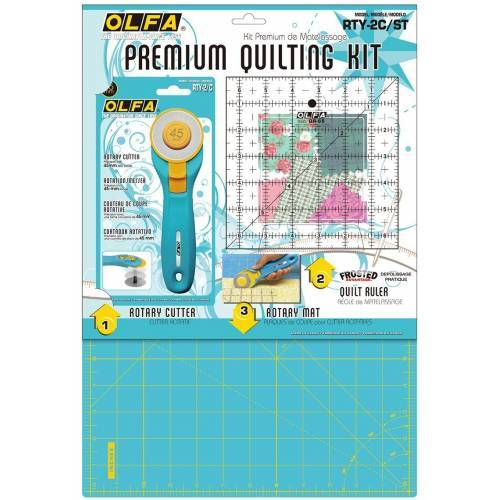 Olfa, Rotella + Righello + Piano di Taglio, Premium Quilting Kit per Cucito e Patchwork