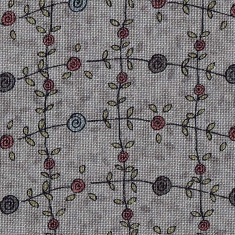 Tessuto Lecien, Sweet Garden of Mine, Flower Vine Metal Grey by Lynette Anderson Lecien Corporation - 1