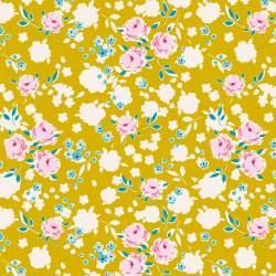 Tilda 110 AppleButter, Bonnie Mustard - Tessuto Giallo a Fiori