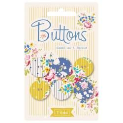 Tilda AppleButter, Bottoni di Tessuto Tilda Giallo e Blu, 6 bottoni da 20 mm