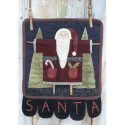 Clothesline Santa - Cartamodello Applique su Lana Babbo Natale, Kathi Campbell