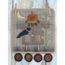 Clothesline Scarecrow - Cartamodello Applique su Lana Autunno, Heart to Hand