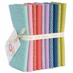 Tilda LazyDays, Trickle/Solid Bundle 10 Fat Quarter 50 x 55 cm - Solidi e Pois