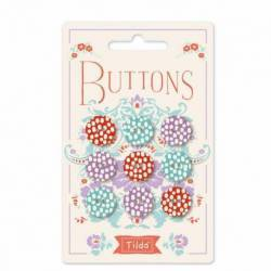 Tilda LazyDays, Bottoni di Tessuto Tilda Turchese, Rosso e Viola, 9 bottoni da 15 mm