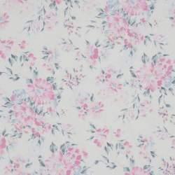 Lecien Natural Elegance, Tessuto Bianco con Fiori Rosa