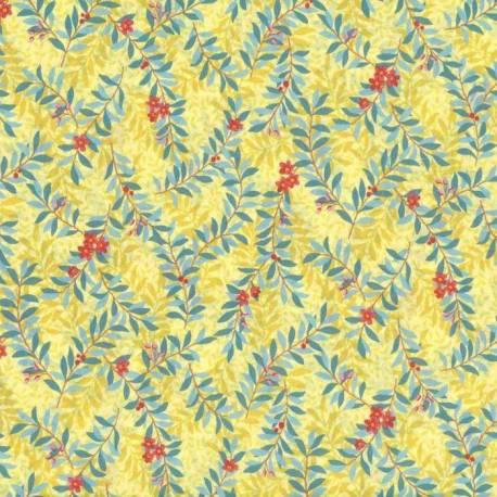 Lecien Natural Elegance, Tessuto Giallo con Foglie Azzurre Lecien Corporation - 1