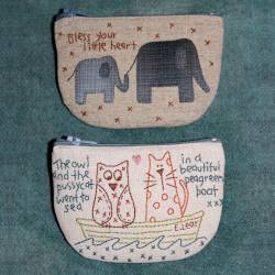 Little Critter Purses - Cartamodello Astuccio con Zip, Applique e Stitchery, The BirdHouse by Natalie Bird
