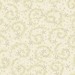 Henry Glass Folio H280 Wide Backing Cream Stars, stelle Crema con riccioli