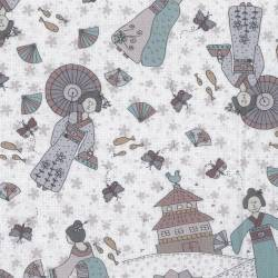Lecien Dancing in the Blossom by Lynette Anderson- BIANCO ispirato asiatico