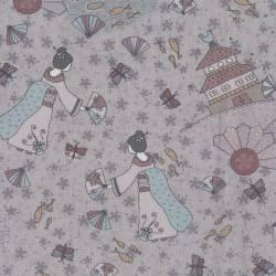 Lecien Dancing in the Blossom by Lynette Anderson- Grigio ispirato asiatico