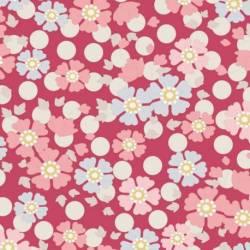 Tilda 110 PlumGarden, Windflower Red, fondo pink con pois bianco e fiori vari rosa confetto e azzurri