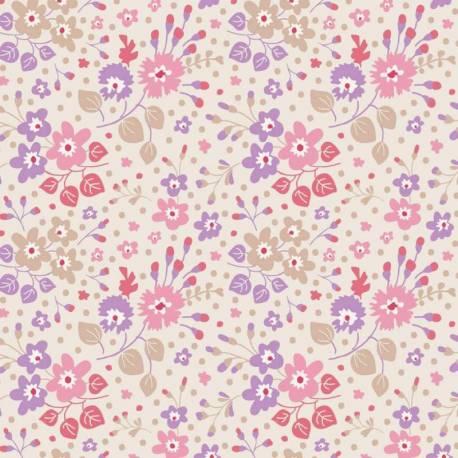 Tilda 110 PlumGarden, Flower Confetti Sand, fondo beige e fiori vari lilla e rosa, foglie beige e pesca