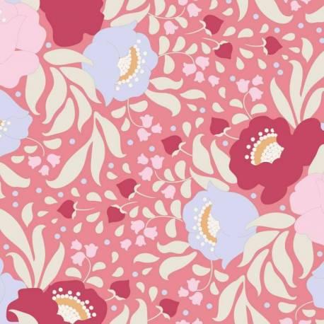 Tilda 110 PlumGarden, Autumn Bouquet Peach, fondo rosa confetto, mazzi rose grandi colori pink, rosa e celeste, foglie sabbia