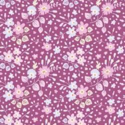 Tilda 110 PlumGarden, Flower Confetti Plum, fondo prugna e piccoli fiori vari rosa e celeste, foglie beige.