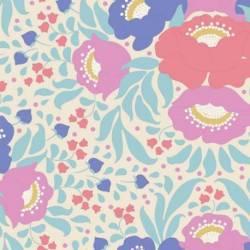 Tilda 110 PlumGarden, Autumn Bouquet Teal, fondo avorio, mazzi rose grandi colori salmone, rosa e azzurro, foglie verde acqua