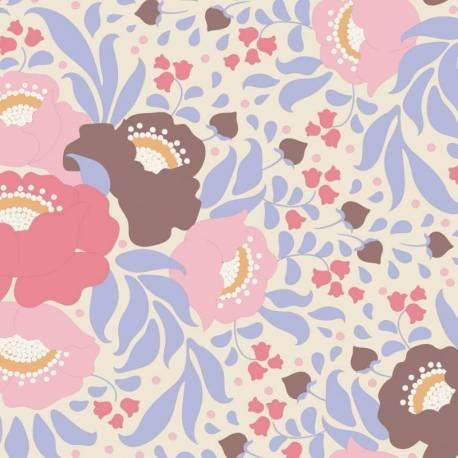 Tilda 110 PlumGarden, Autumn Bouquet Blue, fondo avorio, mazzi rose grandi colori salmone, rosa e marrone, foglie lilla