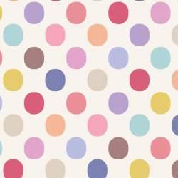 Tilda 110 PlumGarden Blenders, Plum Dot Dove White, fondo bianco, pois grandi colorato