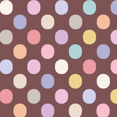 Tilda 110 PlumGarden Blenders, Plum Dot Nutmeg, fondo cappuccino, pois grandi colorato