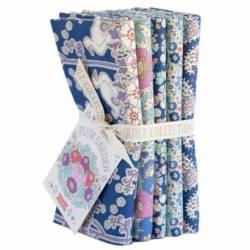 Tilda PlumGarden, Bundle 5 Fat Quarter 50 x 55 cm - BLUEBERRY, Blu