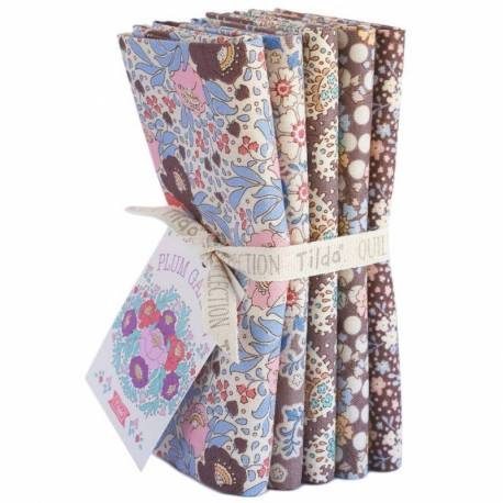 Tilda PlumGarden, Bundle 5 Fat Quarter 50 x 55 cm - NUTMEG, Marrone