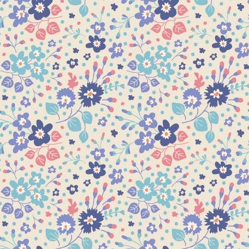 Tilda 110 PlumGarden, FLOWER CONFETTI BLUE fondo chiaro panna, piccoli fiori lilla, blu e foglie turquese e salmone Catalogo P