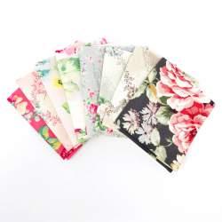 Pacchetto di Tessuto Giapponese Rosa, Grigio e Beige - 8 da 33 x 35 cm