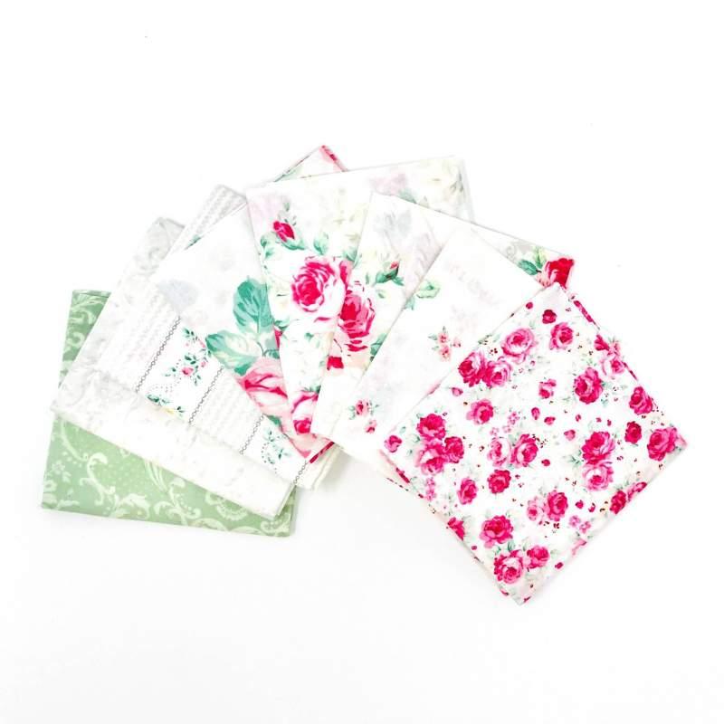 Pacchetto di Tessuto Giapponese Verde e Rosa - 8 da 33 x 35 cm