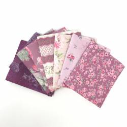 Pacchetto di Tessuto Giapponese Viola e Rosa - 8 da 33 x 35 cm