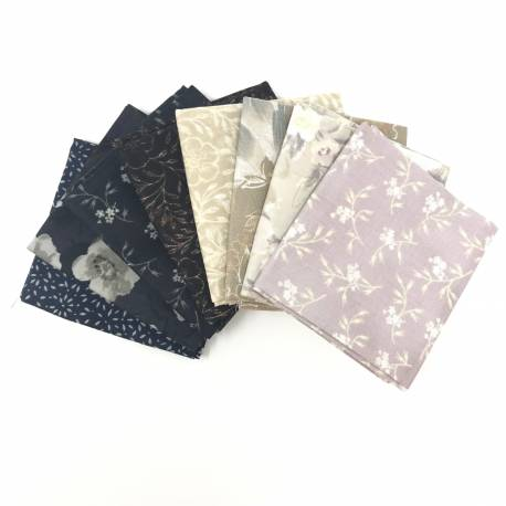 Pacchetto di Tessuto Giapponese Blu, Beige e Rosa - 8 da 33 x 35 cm